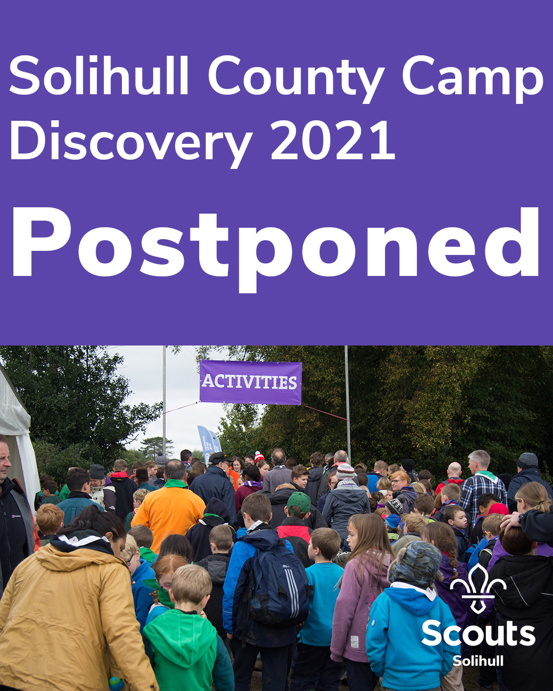 Solihull County Camp Discovery 2021 – Postponed